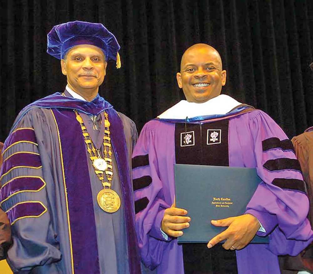 A&T Chancellor Dr. Harold L. Martin Sr. and Anthony Foxx, U.S. Transportation Secretary/ Commencement speaker. Photo by Charles Watkins