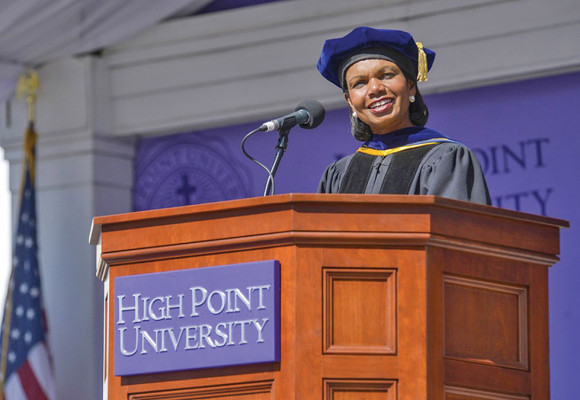 Dr. Condoleeza Rice, former U.S. Secretary of State during the presidency  of George W. Bush, delivered this year's commencement address at High Point University. Photo courtesy High Point University