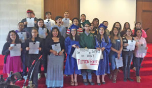 """Participants of the """"Undocugraduation"""" for undocumented high school graduates gathered in Raleigh on May 19 to call for fairness and equal access to education in North Carolina. Photo courtesy Let's Learn NC"""