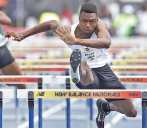 Earl Green of Greensboro finished seventh in the Emerging Elite 110m high hurdles with a time of 14.62 seconds. Photo by Charles Watkins