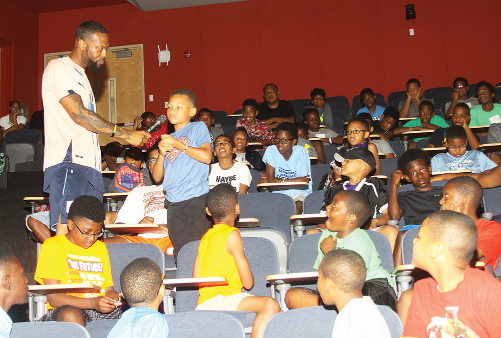 Local radio personality, Bdaht, takes questions from young campers at the Aggie STEM Minority Males Makers Program at N.C. Agricultural & Technical State University on Thursday, June 23. Photo by Charles Edgerton/Carolina Peacemaker
