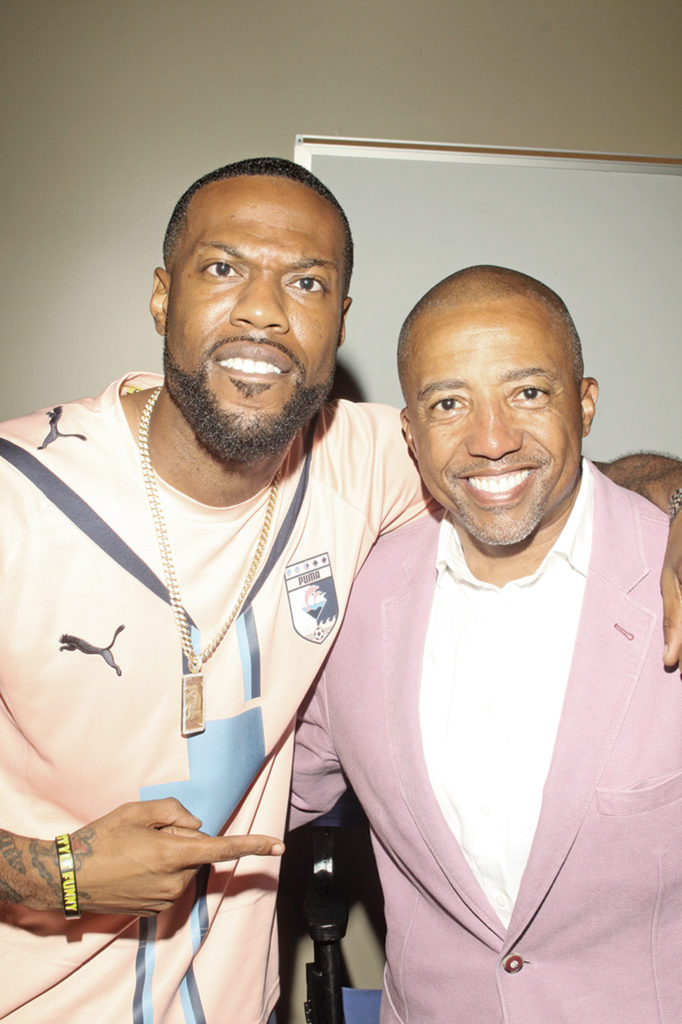 Bdaht, 102 Jamz radio personality, and Kevin Liles, former CEO and President of Def Jam Recordings. Photo by Charles Edgerton/Carolina Peacemaker
