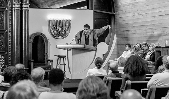 Rev. Dr. William J. Barber attends a nonpartisan voter protection initiative sponsored by the Religious Action Center of Reform Judaism at Temple Beth Or in Raleigh. Photo courtesy Ivan Cutler