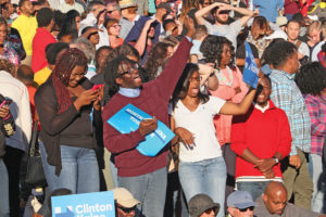 Democratic supporters cheer for President Obama as he enters the amphitheatre. Photo by Joe Daniels / Carolina Peacemaker