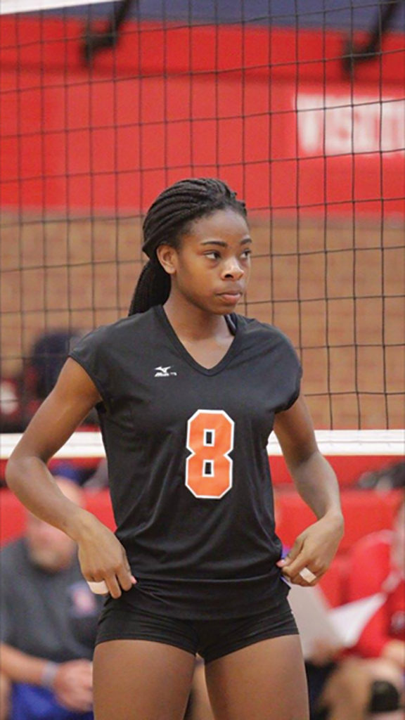 Kiya Oviosun, a Southeast High School volleyball middle hitter, towers over the competition. Courtesy photo.