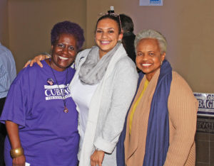 Portia Shipman, a Lora Cubbage supporter, with Deena Hayes Green, a GCS board member (District 8) ran unopposed and State Sen. Gladys Robinson.  Photo by Charles Edgerton/Carolina Peacemaker