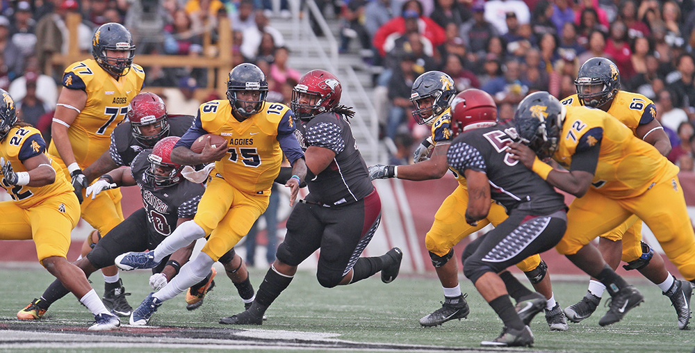A&T quarterback Oluwafemi Bamiro completed only 12 of his 33 pass attempts and had one touchdown pass and two interceptions. photo by  Joe Daniels/Carolina Peacemaker