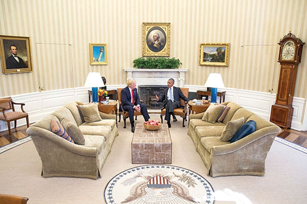 """President Barack Obama meets with President-elect Donald Trump in the Oval Office, Nov. 10, 2016. During this meeting, Trump appeared humbled, called President Obama a """"good man"""" and said he would seek Obama's advice.  Photo courtesy of Pete Souza/The White House"""