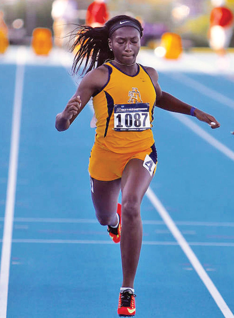 A&T runner India Brown won the 200m indoor title for the second straight season and was part of the winning 4x400 relay team. Photo by Joe Daniels/Carolina Peacemaker