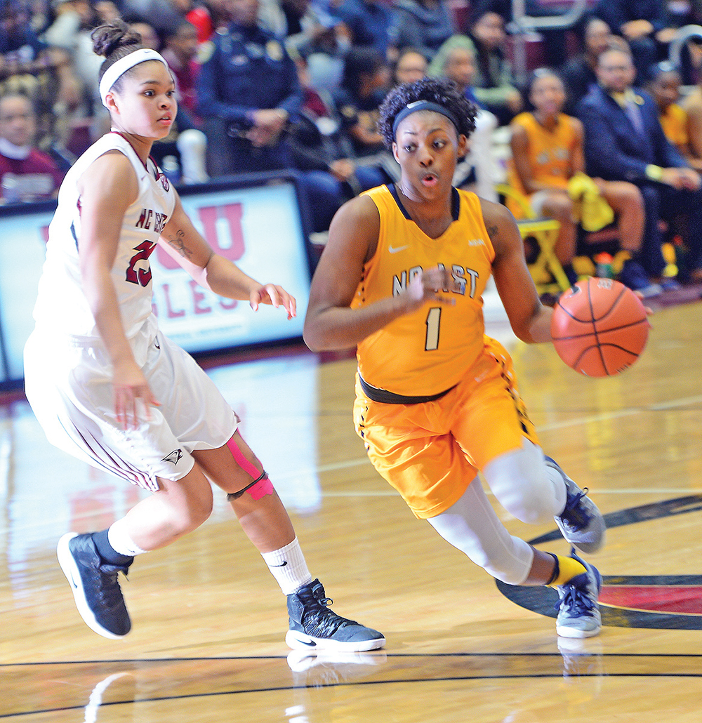 Senior guard Aliyah Kilpatrick led the Aggies with four assists and three steals against N.C. Central.  Photo courtesy Charles Watkins