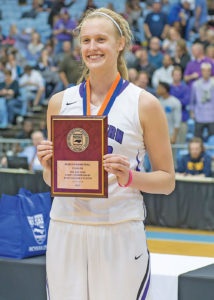 Elissa Cunane was named the Kay Yow 2017 3-A State Championship game MVP. Cunane finished with 24 points and 10 rebounds for Northern Guilford. Photo by: Kevin L. Dorsey