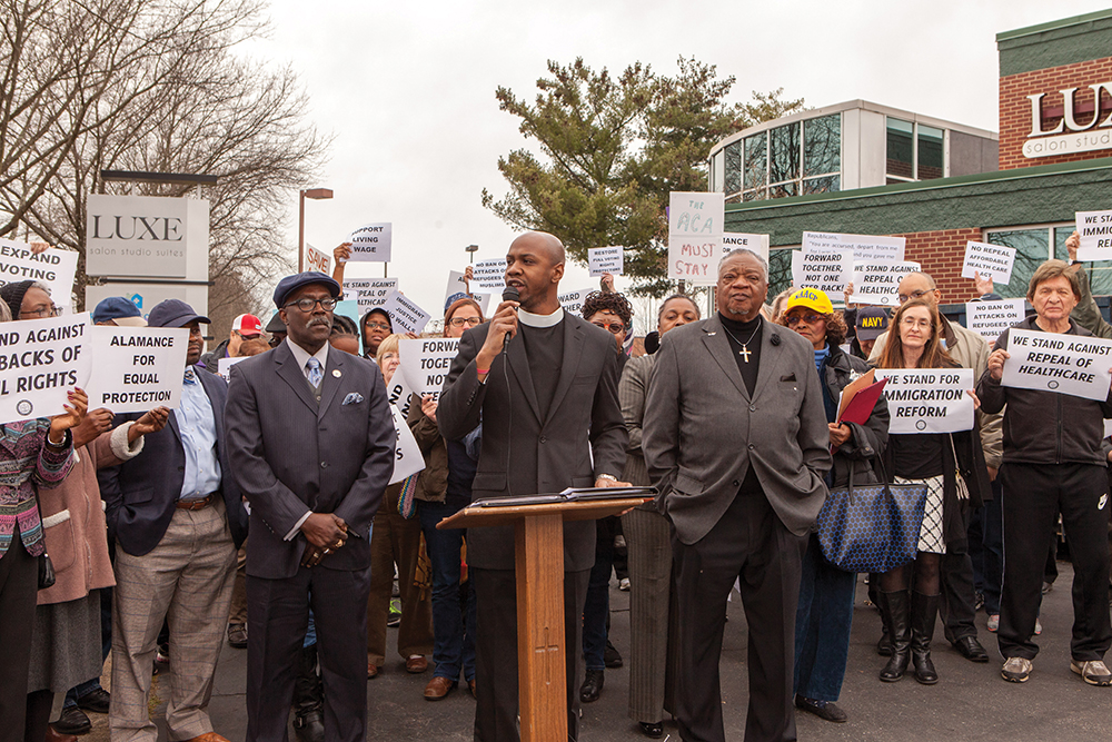L-R: Rev. Donald Matthews, Randolph County NAACP president; Bradley Hunt, Greensboro Branch  NAACP third vice pres.; and Rev. Cardes Brown, Greensboro branch president stand with concerned North Carolina constituents outside U.S. Rep. Mark Walker's office. Photo courtesy of Ivan Cutler
