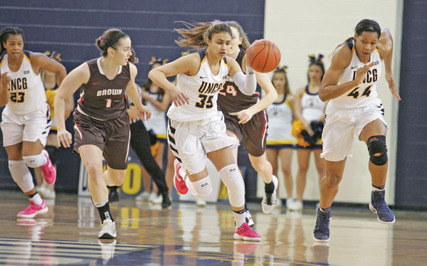 Nadine Soliman, a UNCG freshman guard from Cairo, Egypt, came off the bench to contribute 19 points and six rebounds in the Spartans' comeback victory over the Brown University Bears. Photo by Joe Daniels/Carolina Peacemaker