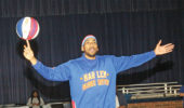 Zeus McClurkin is a Harlem Globetrotter and an alumnus of North Carolina Agricultural & Technical State University. Photo by Charles Edgerton/Carolina Peacemaker