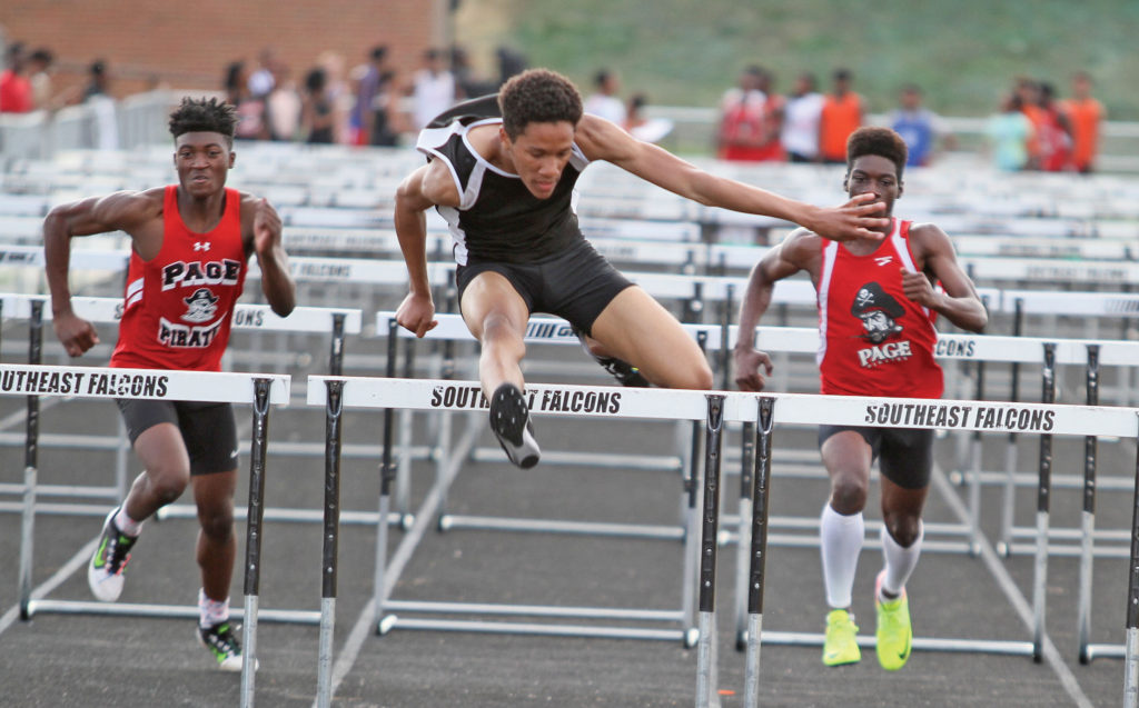 Malikhi Copper of Southeast Guilford sprinted to an easy win in the boys 110m hurdles timed in 16.03 seconds. Photo by Joe Daniels