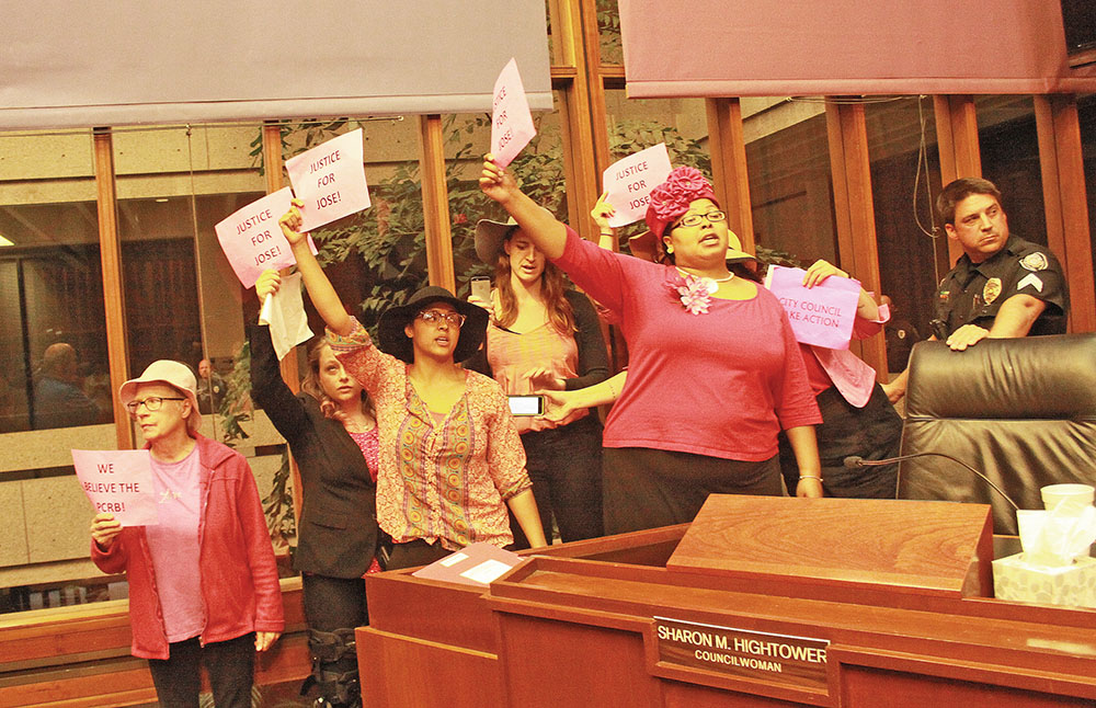 """Members of the """"Mothers, Pastors and Caregivers Brigade"""" take over the dais to call for justice on behalf of Greensboro teen, Jose Charles. Photo by Charles Edgerton/Carolina Peacemaker"""