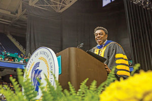 UNC Greensboro Chancellor Franklin Gilliam, Jr. encouraged students in his address to think big, think bold and don't be afraid to fail on the road to success.  Courtesy UNC Greensboro