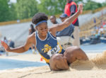 Aggie freshman Madeleine Akobundu captured the long jump gold medal with a leap of 19-feet-10.5 inches. Photo by Kevin L. Dorsey