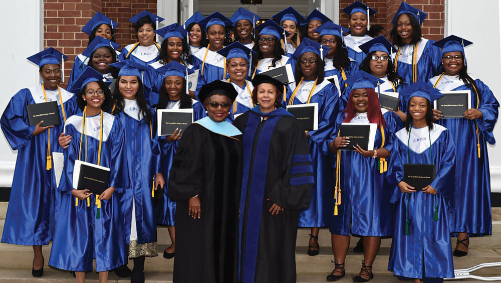 2017 graduates of the Middle College at Bennett stand in front of Pfieffer Chapel on the Bennett College campus.