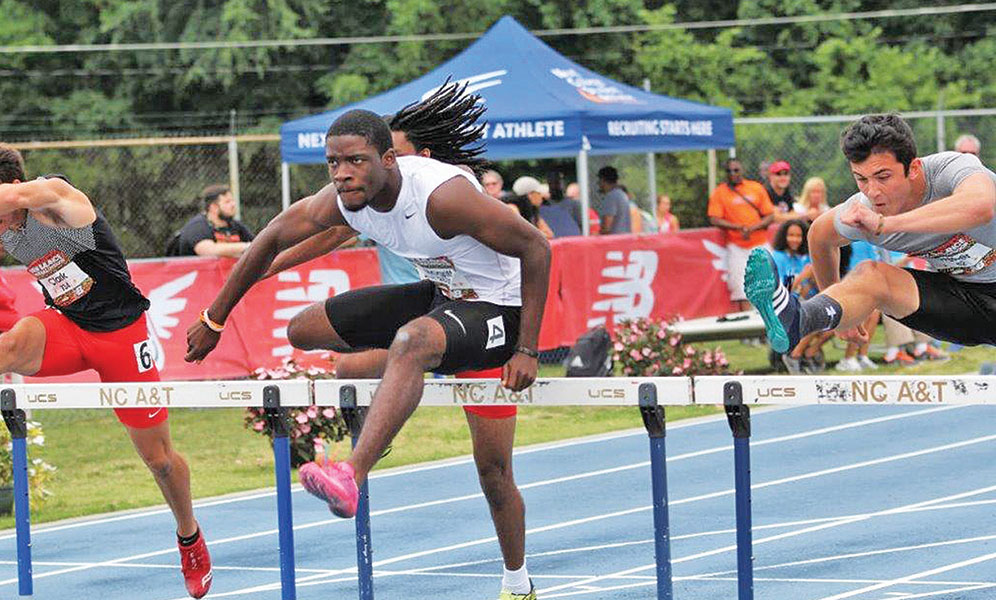 Cedric McGriff, an NCA&TSU incoming freshman, won the Emerging Elite 110 meter hurdles at the New Balance Outdoor Championships at the Belk Track on the campus of NCATSU. McGriff's time of 13.9 seconds broke the previous meet record of 13.97 seconds set in 2016 by Ihmir Marsette. Photo courtesy Micheal Simmons