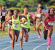 Bronze medal winner Tamara Clark of High Point runs in the 4x1. Photo courtesy Micheal Simmons