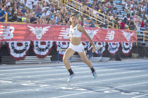 Sydney McLaughlin of New Jersey crushed the 400H with a time of 54.46 seconds. Photo courtesy Micheal Simmons