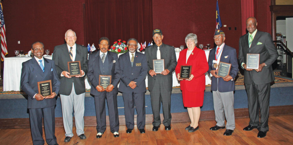The National Association for Black Veterans presented awards to the following honorees: (L-R) Rufus Thompson, Jesse Linwood Walls, Haywood Hammond, Allen Bailey, Matthew Lee, Patricia Dance, John Thompson and Dr. Tyrone Hunter.  Photo by Charles Edgerton/Carolina Peacemaker