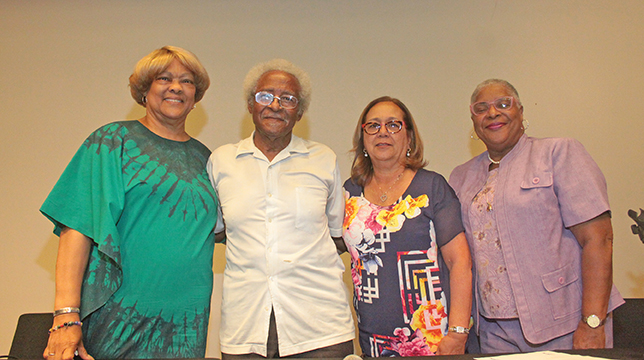 Brenda Dalton James, Charles Bess, LaRue Moore, and Rosalyn Smith shared their experiences during the 1960s sit-ins at the 57th anniversary of the integration of F.W. Woolworth's lunch counter. Photo by Charles Edgerton/Carolina Peacemaker