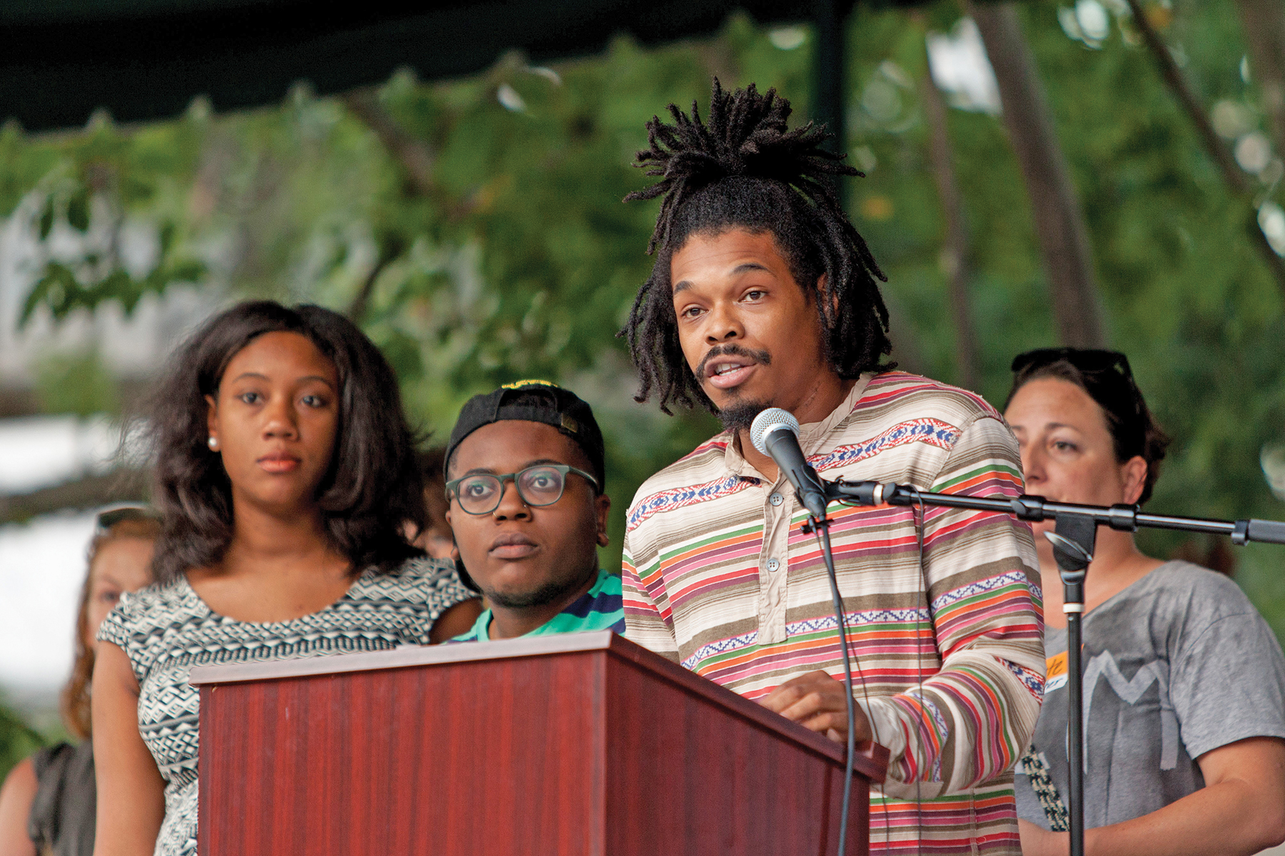 Black Lives Matter organizer David Irving Allen spoke to the crowd about understanding the past in order to change the future.  Photo courtesy Ivan Cutler
