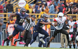 Elijah Bell (#13), an A&T sophomore wide receiver, had a career-best nine receptions for 178 yards in the Aggies' 44-3 victory over Delaware State. Photo by Joe Daniels/Carolina Peacemaker