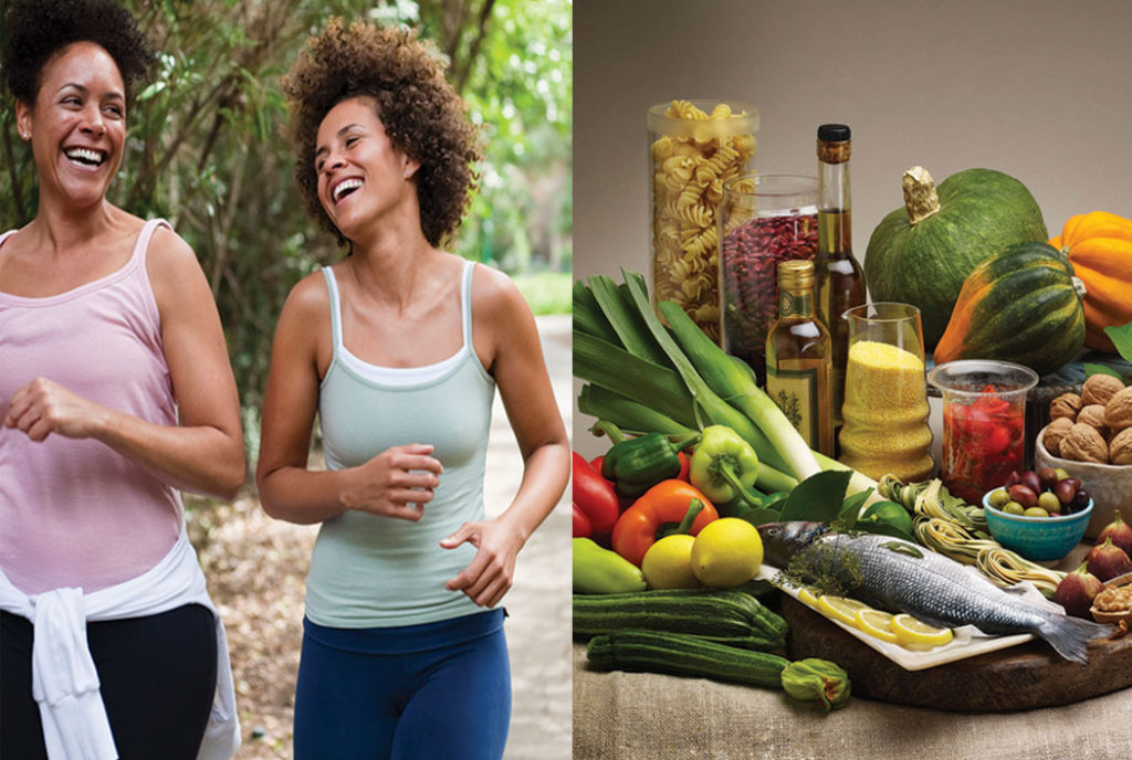 Exercise and a healthy diet are essential to dealing with the symptoms of menopause.