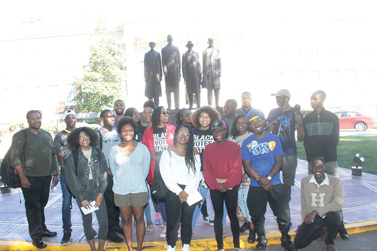 N.C. A&T State University and Bennett College  students head to the Guilford County Courthouse for early voting in the primaries.  Photo by Charles Edgerton/Carolina Peacemaker