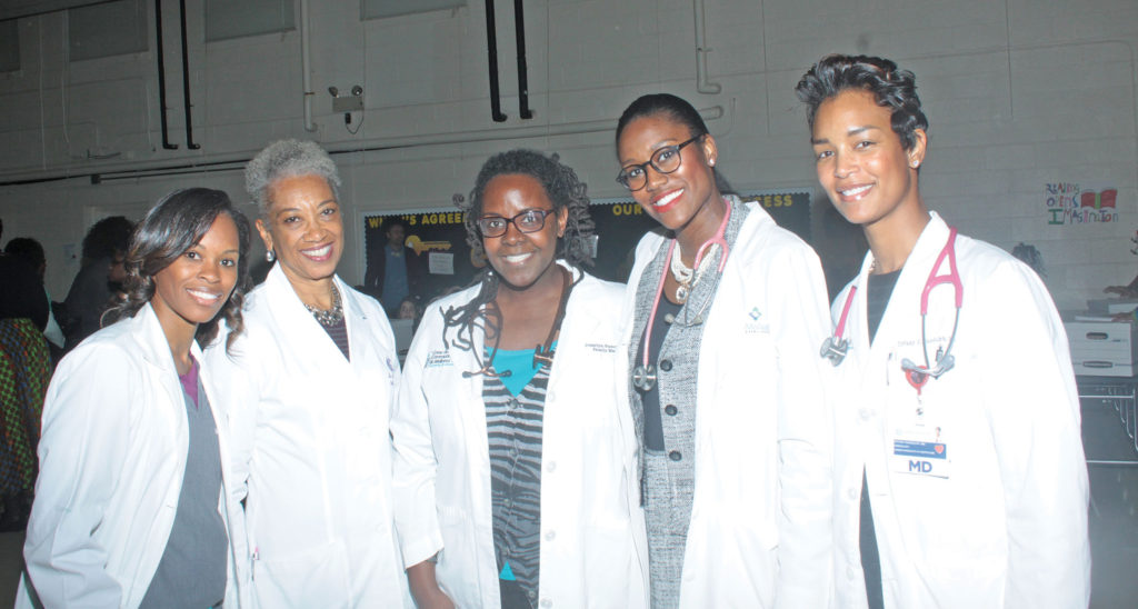 Dr. Alison Durham, Pediatric Medicine; Dr. Vanessa Haygood, Obstetrics and Gynecology;  Dr. Josalyn Funches, Family Medicine; Dr. Tracy McLain-Scocuzza, Internal Medicine; and Dr. Tiffany Randolph, Cardiology. Photo by Charles Edgerton/Carolina Peacemaker