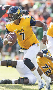 A&T Aggies' quarterback, Lamar Raynard.